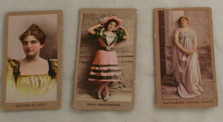 vintage tobacco card, actresses, Katharine Lucile Foote,Maxime Elliott,Nina Farrington,Sweet Caporal