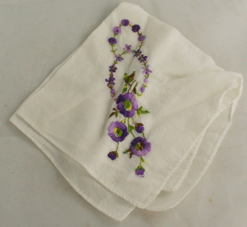 vintage handkerchief, cotton, embroidered,violets, women, accessories