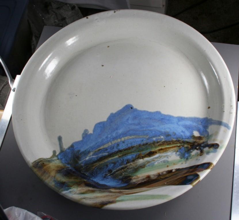 pottery, Wendt,platter,stoneware,Idaho, Lewiston, 1980