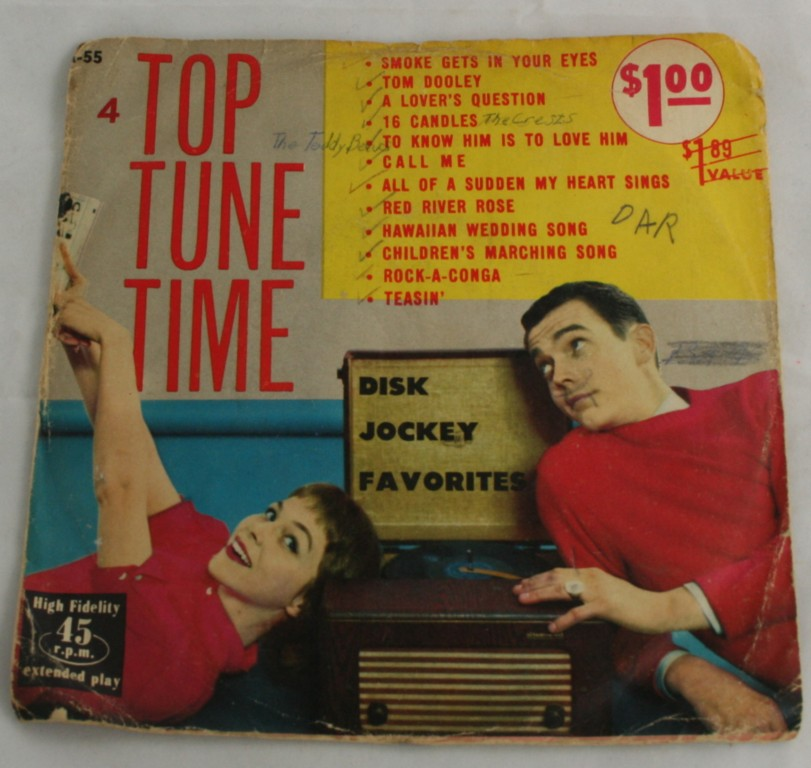 vintage 45,vinyl,Top Tune Time,Promenade,2 records,Disk Jockey Favorites