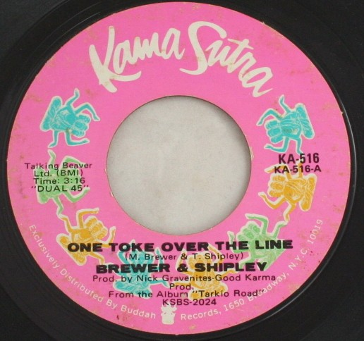 vintage record,45,vinyl,Brewer & Shipley,One Toke Over The Line, Kama Sutra Records