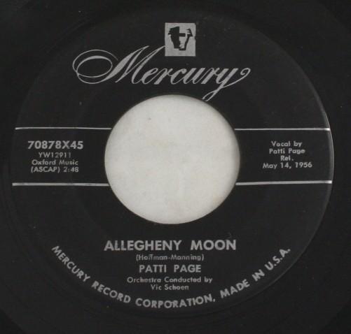 vintage record,45,vinyl,Patti Page,Allegheny Moon, Mercury Records