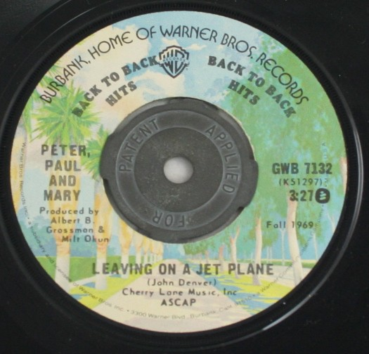 vintage record,45,vinyl,Peter Paul and Mary,Leaving On A Jet Plane, Warner Bros Records