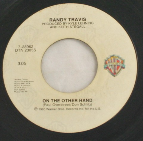 vintage record,45,vinyl,Randy Travis,On The Other Hand, Warner Brothers Records