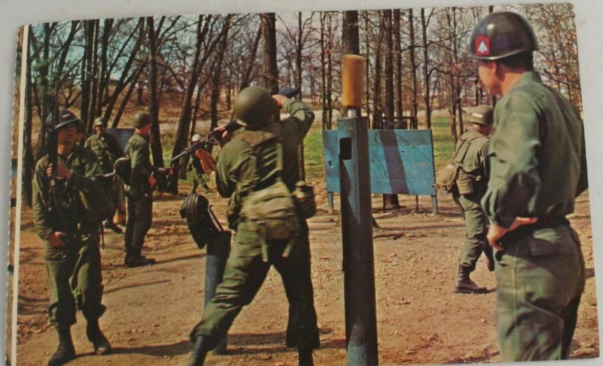 vintage postcard,military,Fort Leonard Wood,bayonet,drill