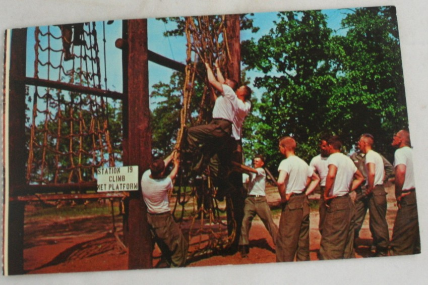 vintage postcard,military,Fort Leonard Wood,obstacle course,drill