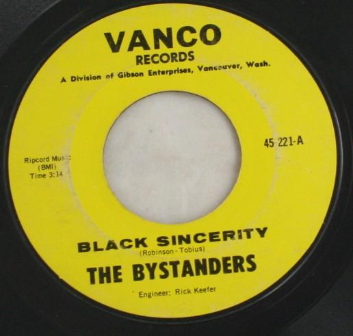 vintage record,45,vinyl,The Bystanders,Diane,Black Sincerity, Vanco Records