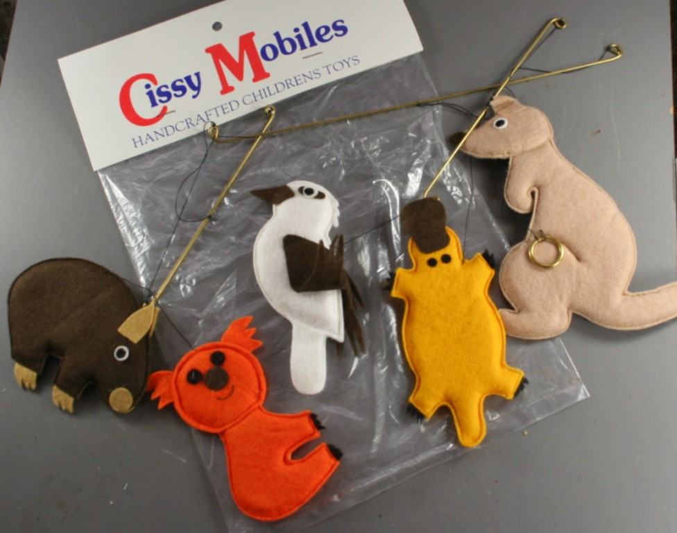 vintage mobile, Australian animals, felt, baby, nursery decor