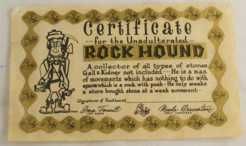 vintage paper,comic,certificate,rock hound