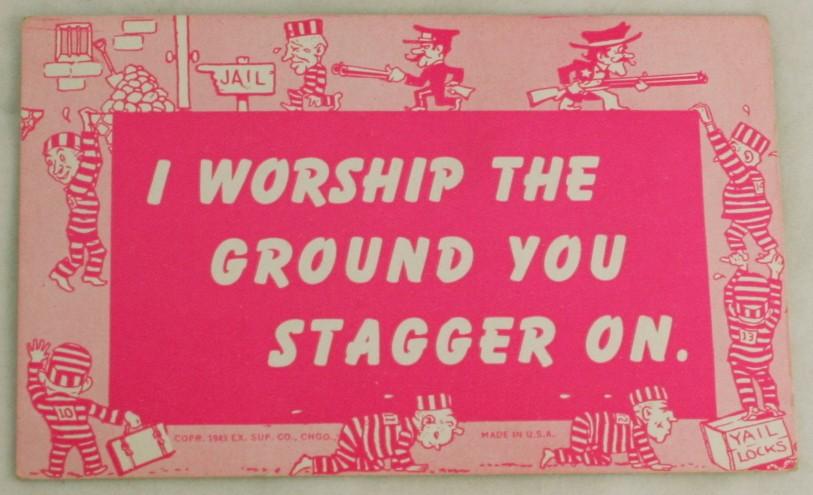 vintage postcard,mutograph,WWII,comic,humour,blank back