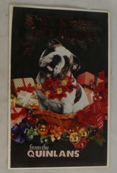 postcard,bulldog,Christmas,RPPC