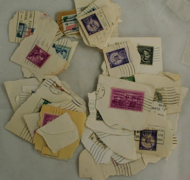 vintage postage stamps,stamps,cut squares, stamps on paper, postmarks