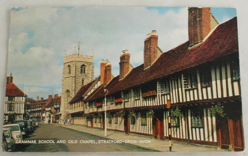 vintage postcard,Grammar School, Gilt Chapel, Stratford-Upon-Avon,England
