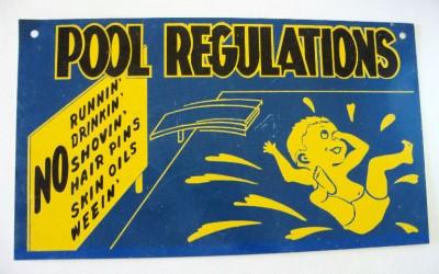 vintage metal swimming pool rules sign cute ebay