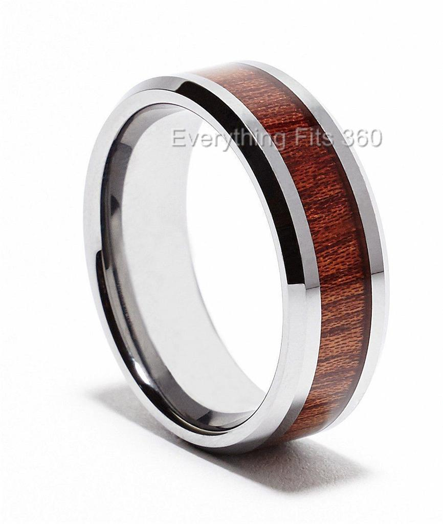 mens womans tungsten carbide wood inlay wedding ring band