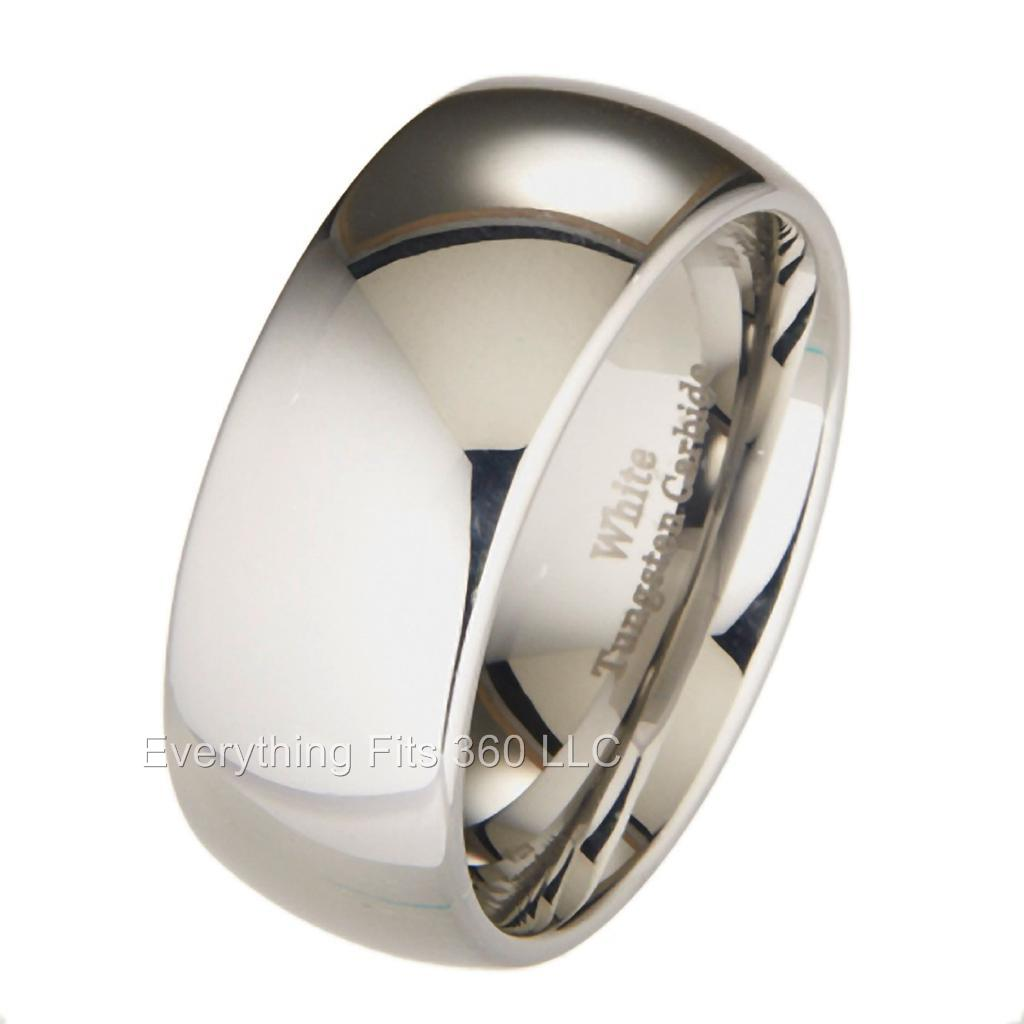 white tungsten carbide 10mm polished classic wedding ring