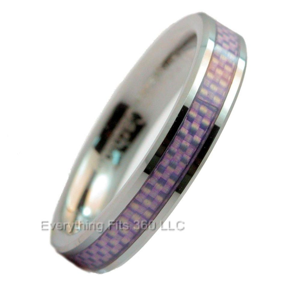 4mm Tungsten Carbide Purple Carbon Fiber Inlay Wedding Ring Band NEW Size 10