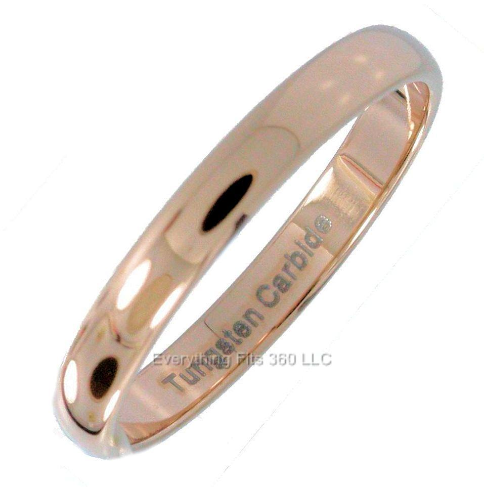 3mm Rose Gold Plated Tungsten Carbide Wedding Band Ring Size 7