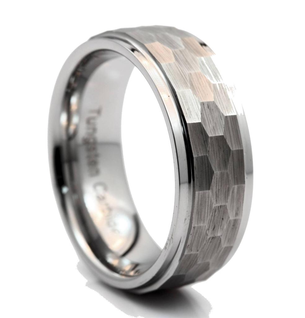 8mm Tungsten Carbide Mens Hammered Stepped Edges Wedding Band Ring Size 13