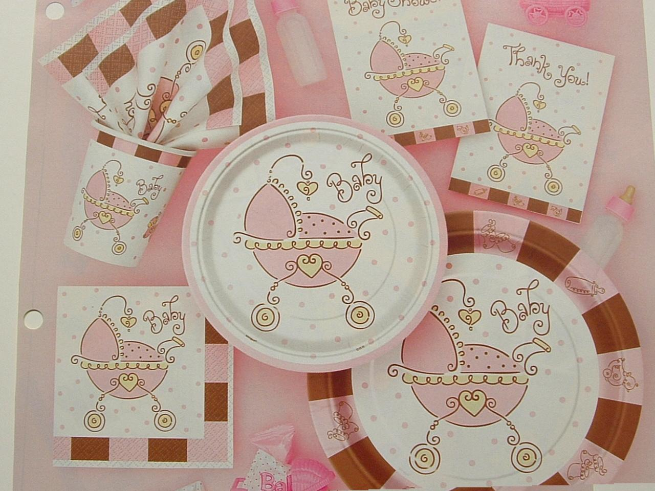baby joy pink baby shower plates napkins cups invitations thank