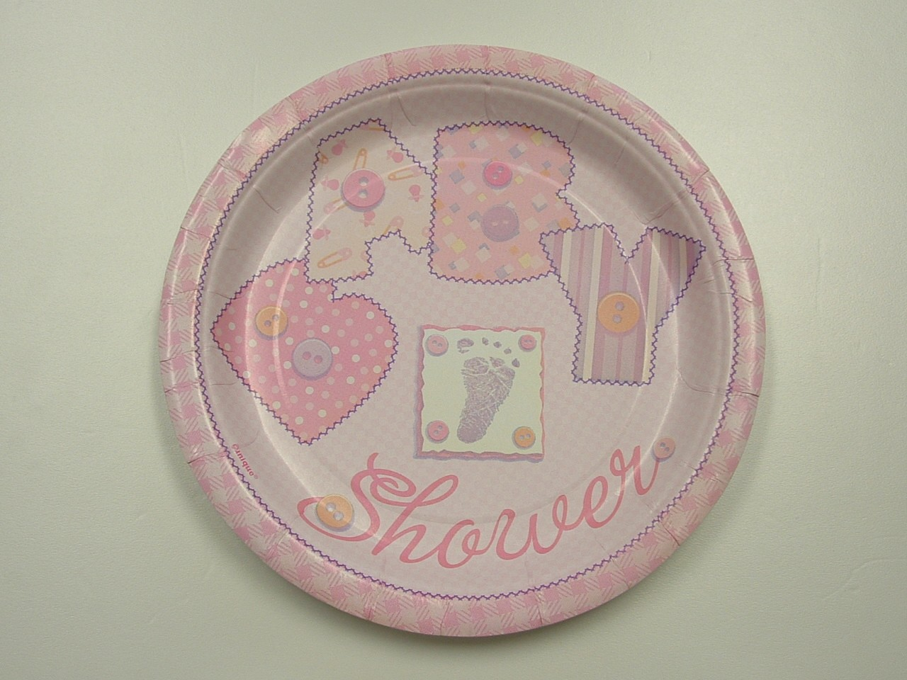 details about baby stitching pink baby shower paper plates napkins