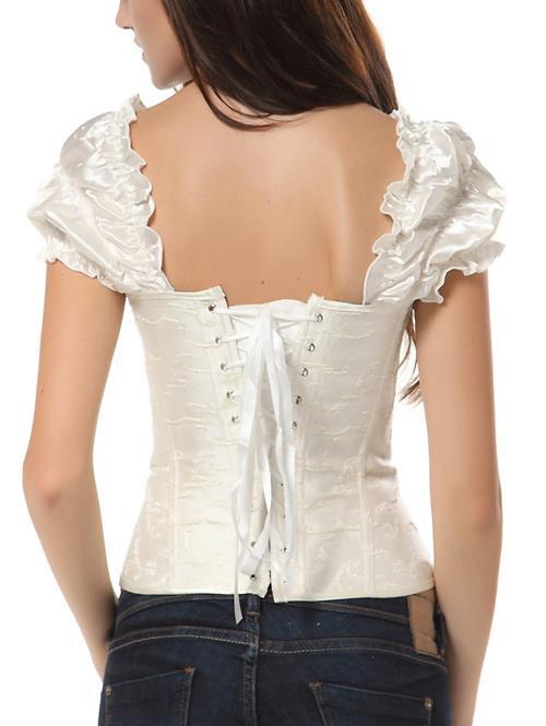 Feminine embroidered Steel Bones corset Cap sleeves Top ...