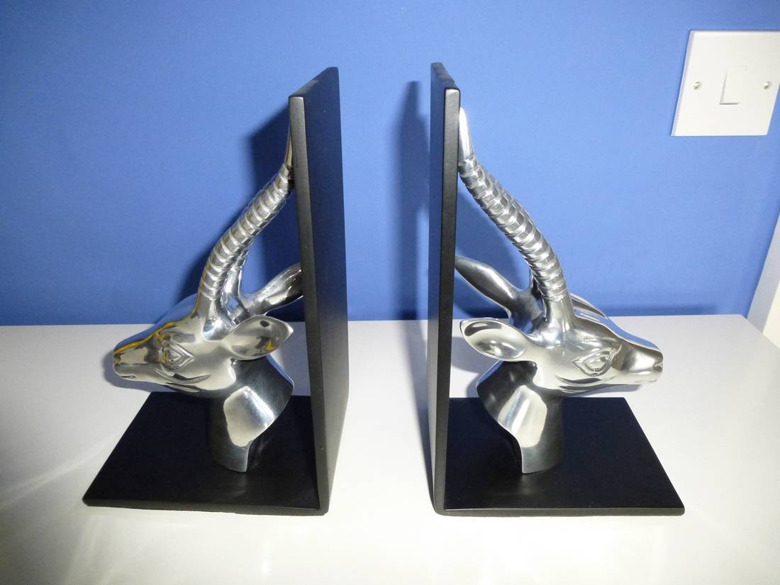 M s pair silver chrome deer stag head bookends black metal mark spencer mint ebay - Stag book ends ...