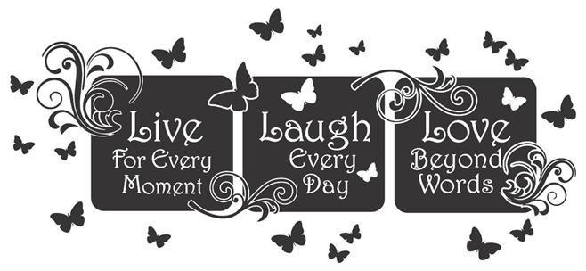 live laugh love floral mural quote vinyl wall art decal sticker home decor. Black Bedroom Furniture Sets. Home Design Ideas