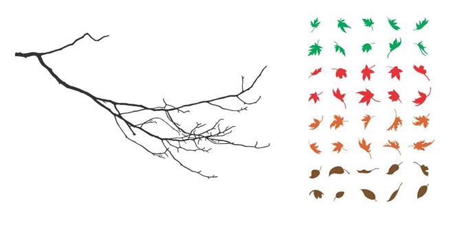 Branch Falling Autumn Leaves Sharp Nature Vinyl Wall Art Decal Sticker