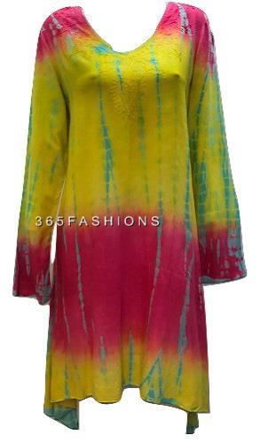 PLUS-SIZE-HIPPIE-BOHO-SUMMER-ASYMMETRIC-HEM-EMBROIDERED-V-NECKLINE-TUNIC-DRESS