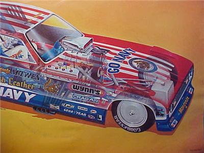 Scarce 70s Tom McEwen Cutaway Navy Mongoose Funny Car Handoutl NHRA L
