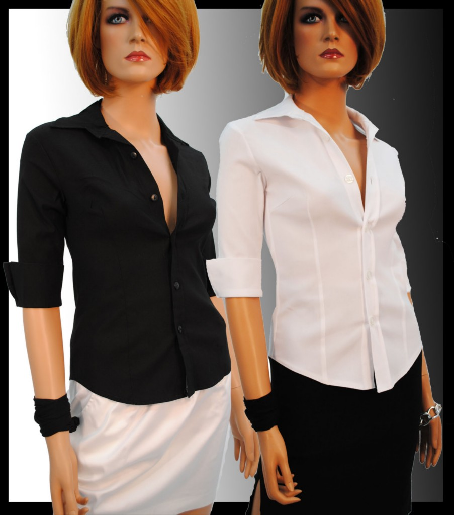 Womens White Fitted Blouses 78