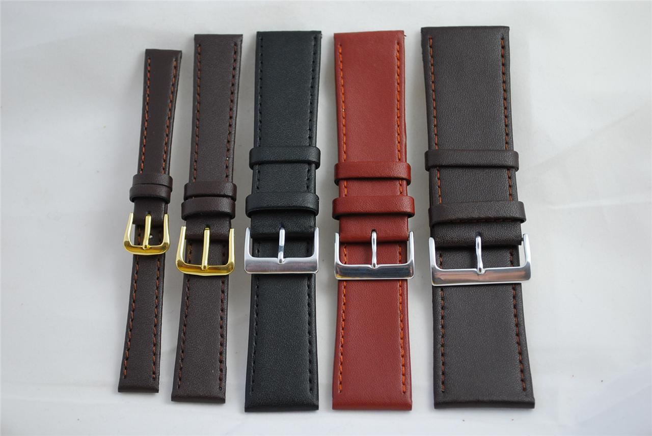 Top-Quality-ECO-Brown-Black-Tan-Leather-Watch-Straps-12mm-up-to-30mm