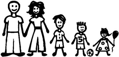 Family window Kids Decal Sticker stick figure 9 x 4
