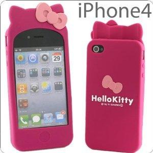 Hot Pink Hello Kitty Soft Case Cover with Ears for Apple iPhone 4 / 4S