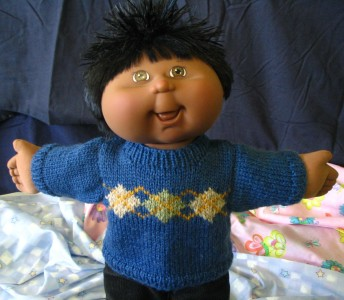 Knitting Patterns Cabbage Patch Dolls Free : KNITTING PATTERN BOOKLET - Jumpers for 14&16in Cabbage ...