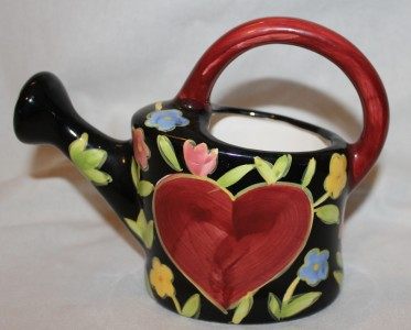 Watering Can Indoor Plants Porcelain Beautiful Flowers Big Red Heart