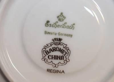 eschenbach bavaria germany baronet china regina saucer set 2 pair gold white a ebay. Black Bedroom Furniture Sets. Home Design Ideas