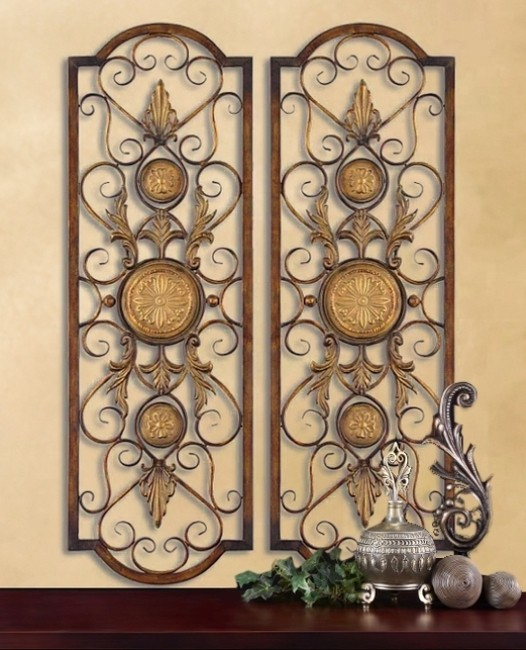 Large Mediterranean Wall Decor : Set of tuscan mediterranean wall grilles panels