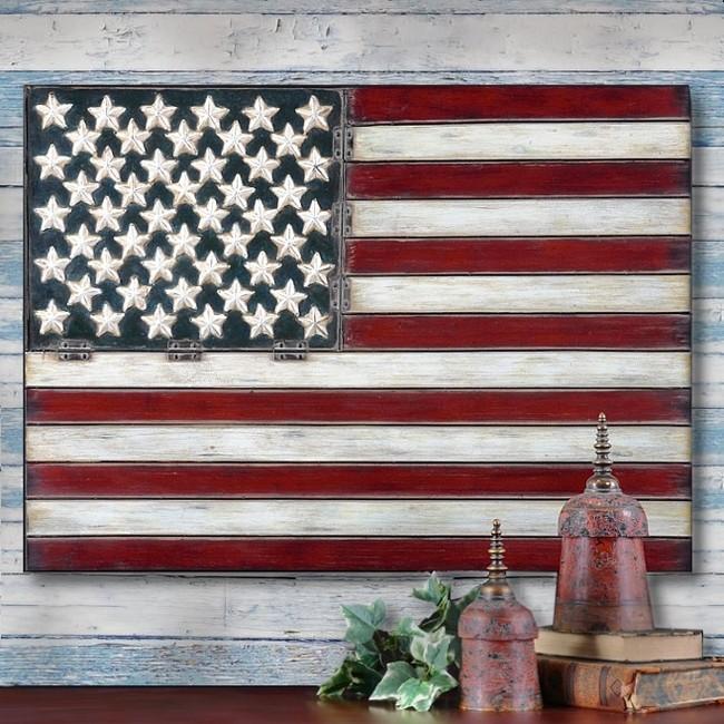 American Flag Folk Art Metal Wall Art Panel Americana 3