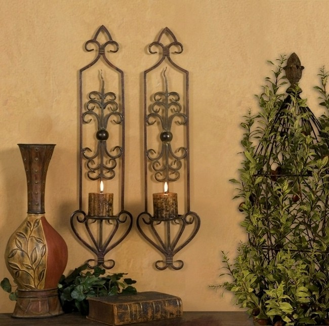 st 2 french tuscan scroll mediterranean wall sconce candle holders ebay. Black Bedroom Furniture Sets. Home Design Ideas