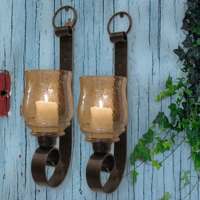 ST 2 TUSCAN FARMHOUSE Antique Iron WALL SCONCE CANDLE HOLDERS