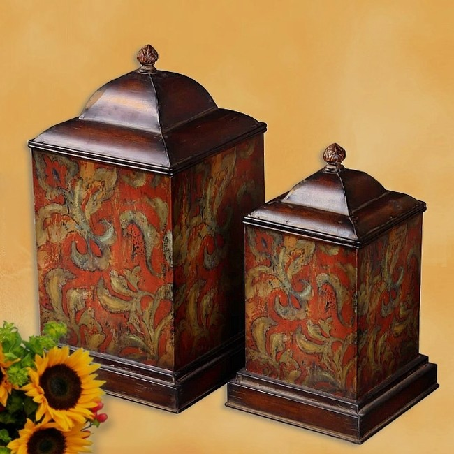 s 2 french tuscan italian old world lrg fiore flowers kitchen canisters tuscan food canisters tuscan style