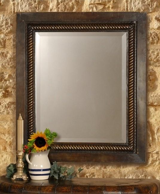 Tuscan Italian Rustic Mediterranean Style Forged Metal Mirror