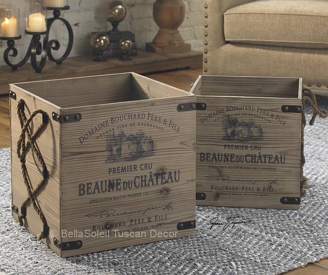 S 2 tuscan rustic wooden wine crates old world for Small wine crates