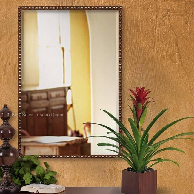 Tuscan Farmhouse Mediterranean Style Rustic Riveted Mirror