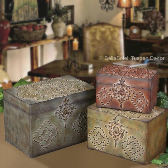 ST3 TUSCAN RUSTIC Old World Style BOXES CONTAINERS