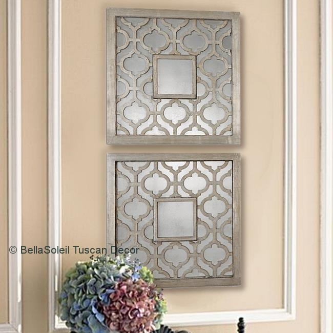S 2 French Tuscan Old World Mediterranean Style Mirrors