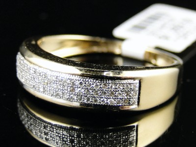 10k MENS YELLOW GOLD DIAMOND WEDDING BAND RING 1/4 CT