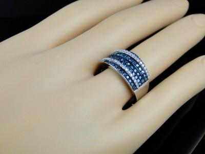 10K LADIES BLUE/WHITE DIAMOND FASHION BAND RING 1.15 CT